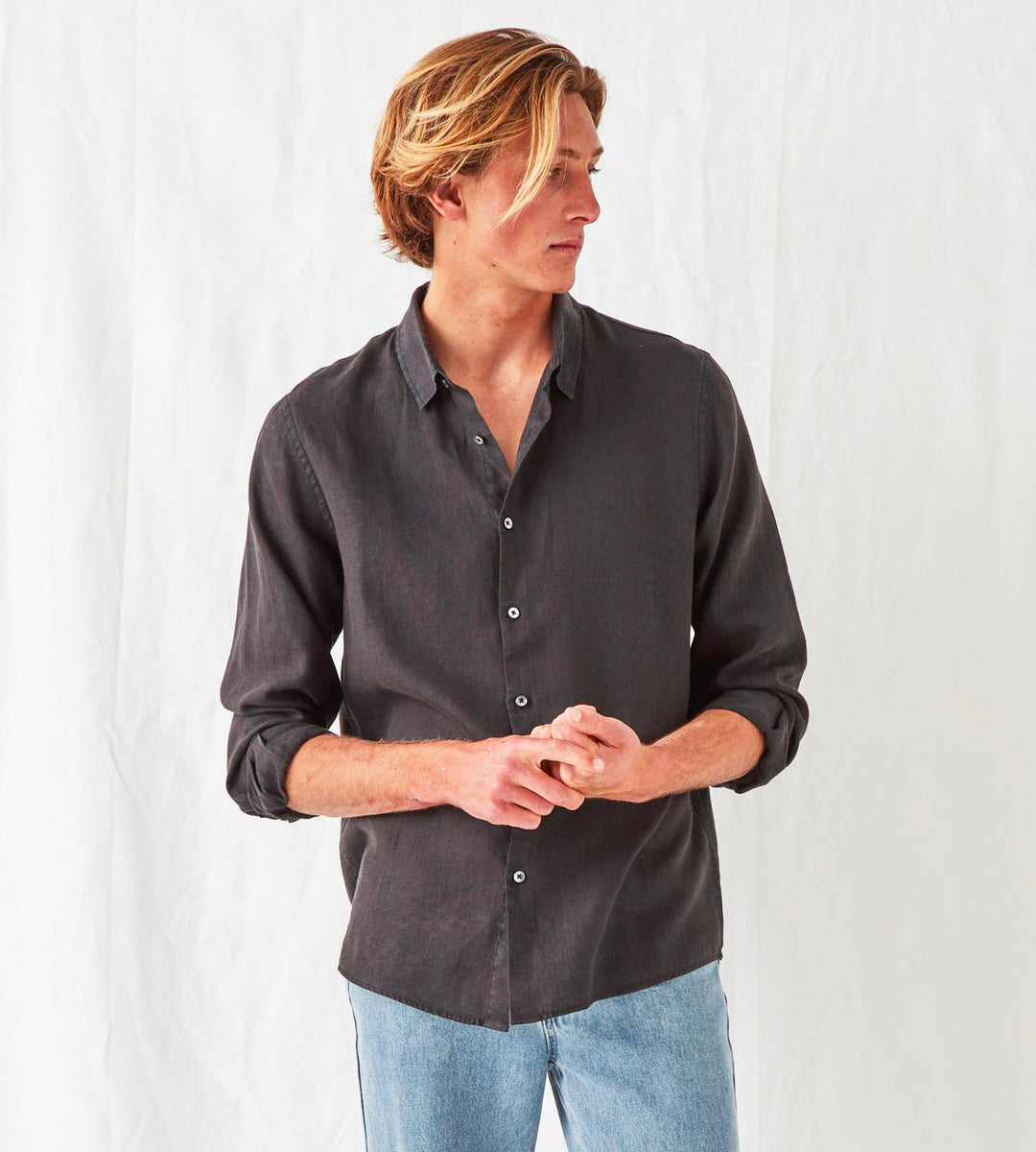 Assembly Label | Men's Casual Long Sleeve Shirt | Black