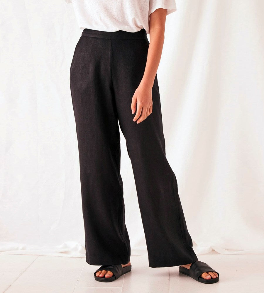 Assembly Label | Wide Leg Linen Pant | Black