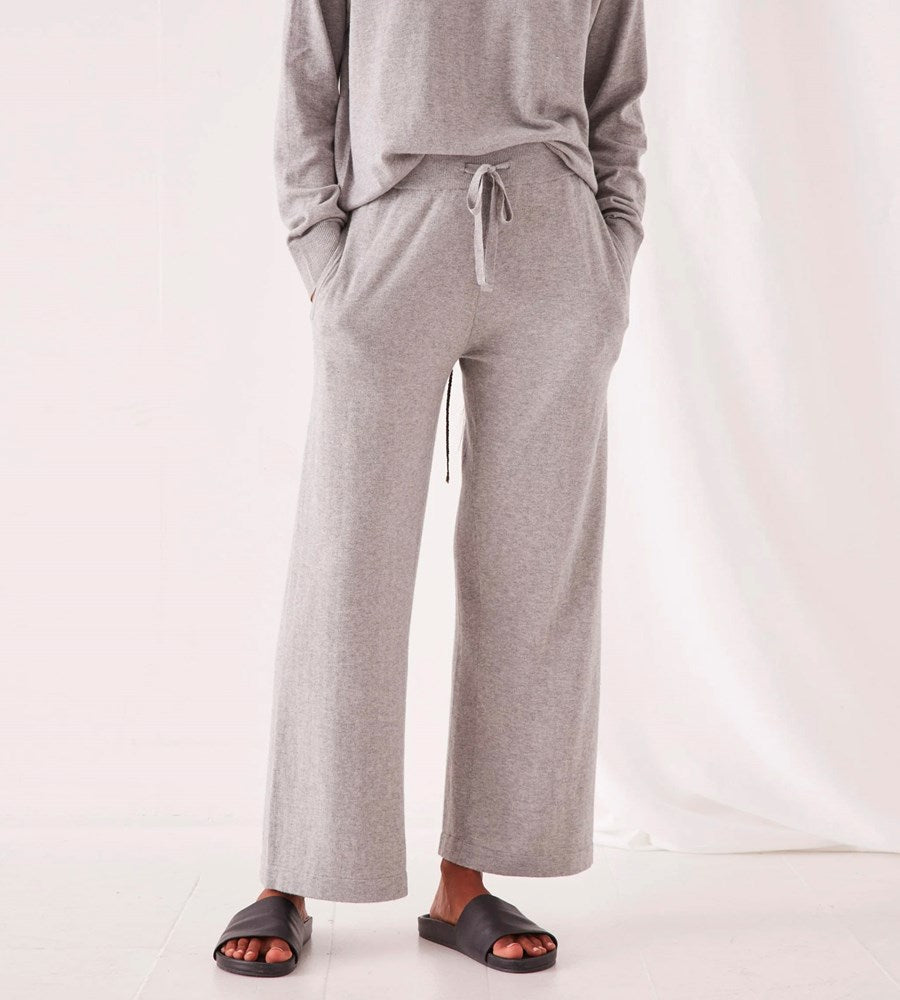 Assembly Label | Cotton Cashmere Lounge Wide Leg Pant | Grey Marle