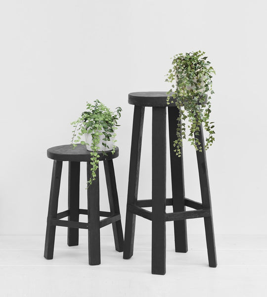 Black Teak Stool | Square Base