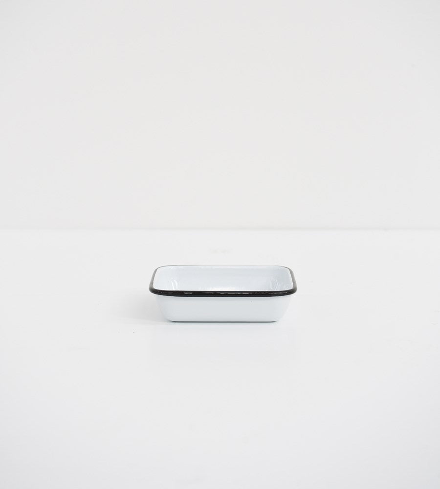 Black & White Enamel | Square Soap Dish