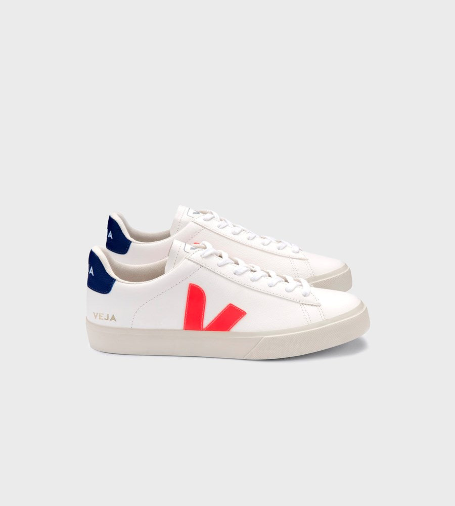 Veja | Campo Chromefree Leather Sneaker | Men's | Extra White Orange-Fluo Cobalt
