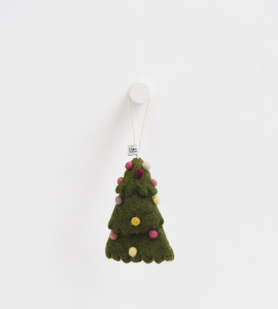 Christmas Decoration | Felted Christmas Tree with Coloured  Baubles