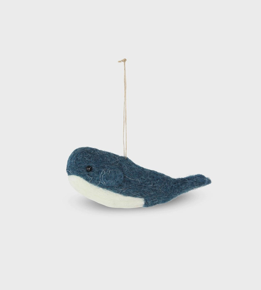 Christmas Decoration | Wool Hanging Whale | Blue
