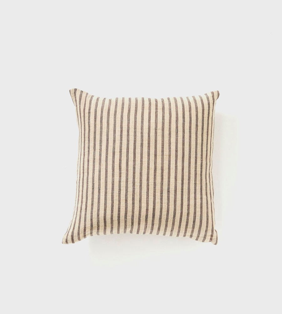 Christophe Linen Cushion | Charcoal Stripe
