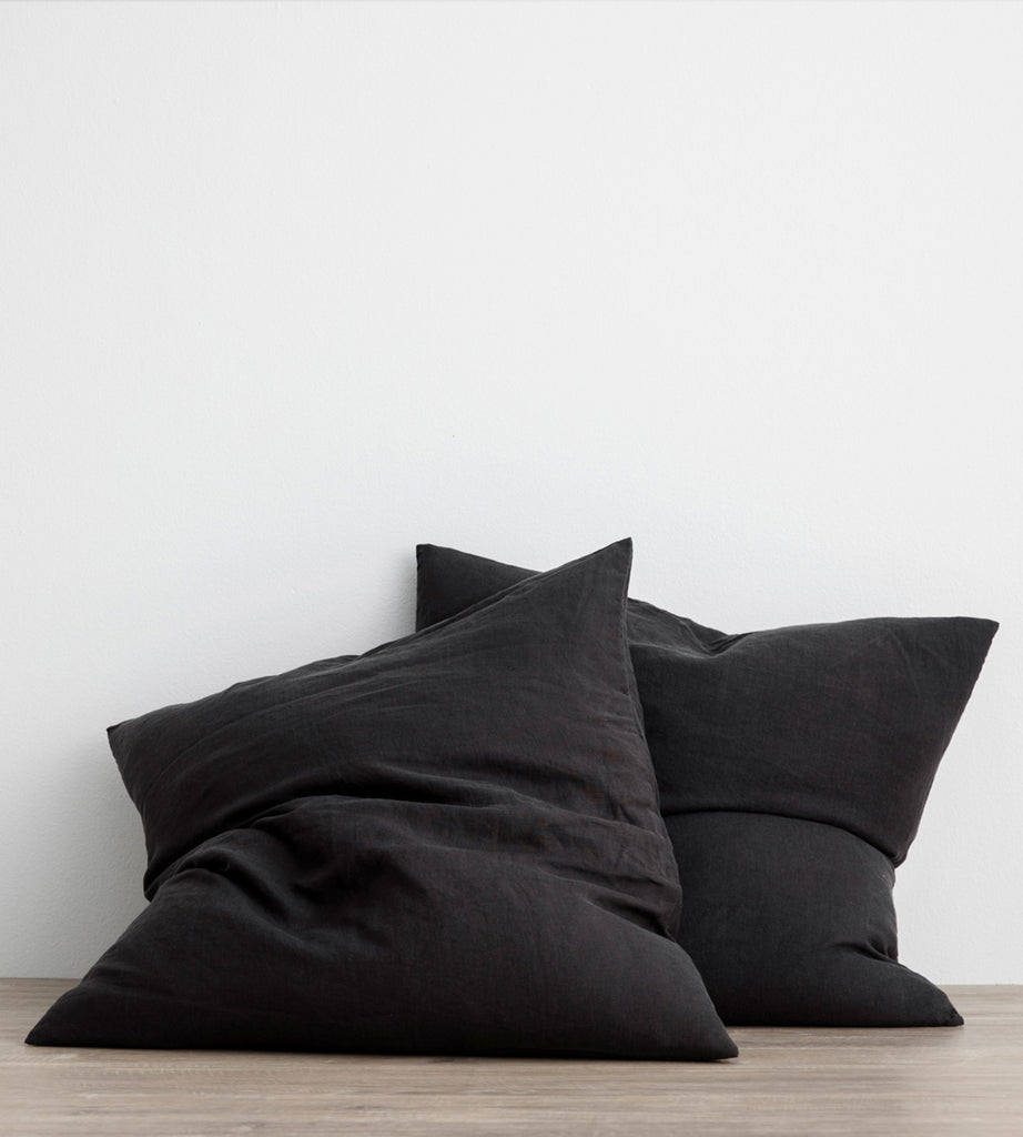 Cultiver | Linen European Pillowcase Pair | Black
