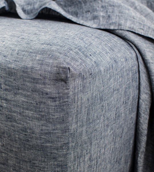 Cultiver | Linen Fitted Sheet | Indigo