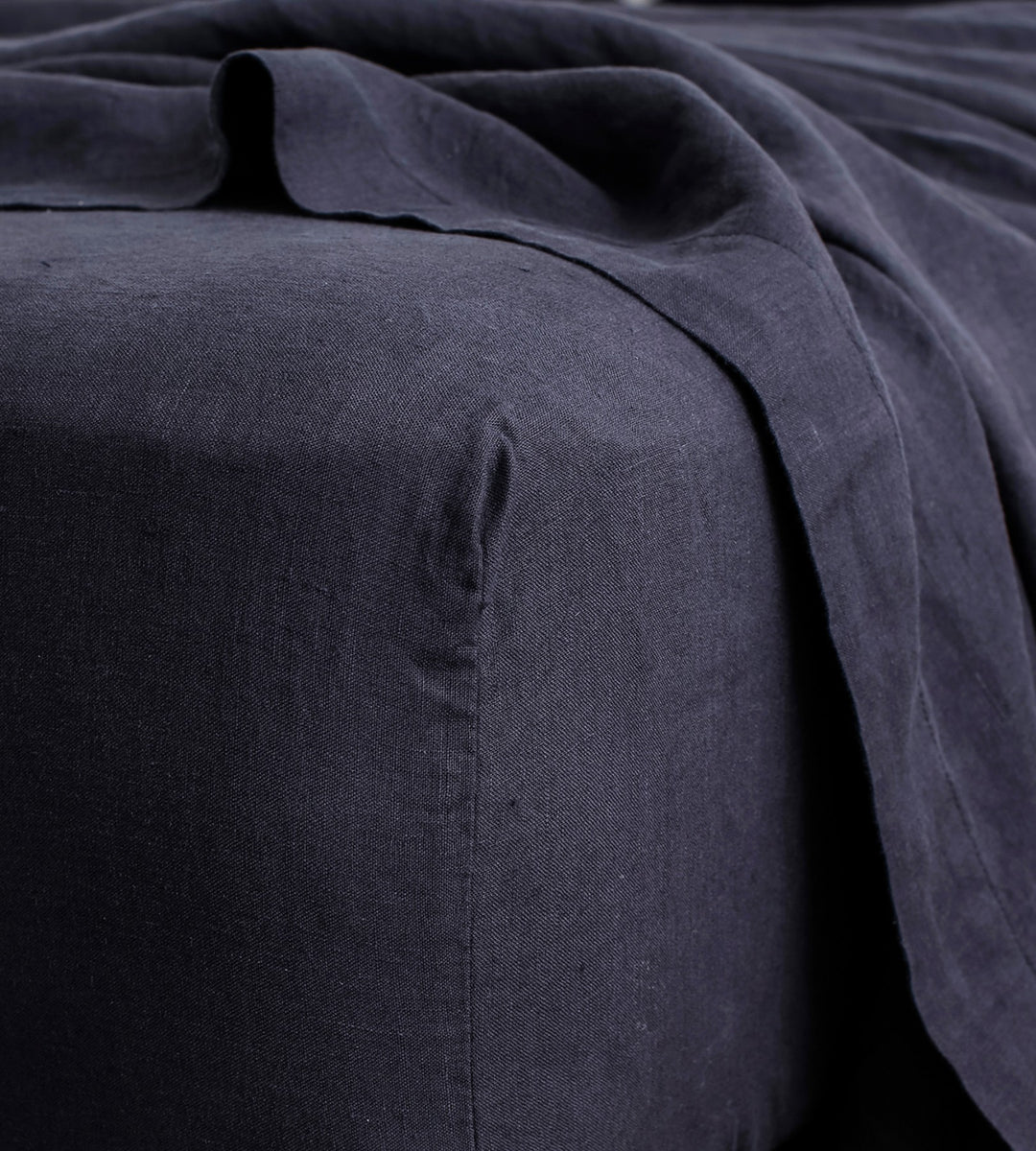Cultiver | Linen Fitted Sheet | Navy