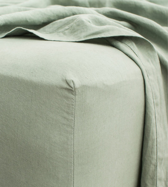 Cultiver | Linen Fitted Sheet | Sage