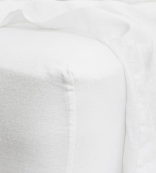 Cultiver | Linen Fitted Sheet | White