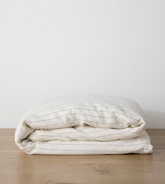 Cultiver | Linen Duvet Cover | Pencil Stripe
