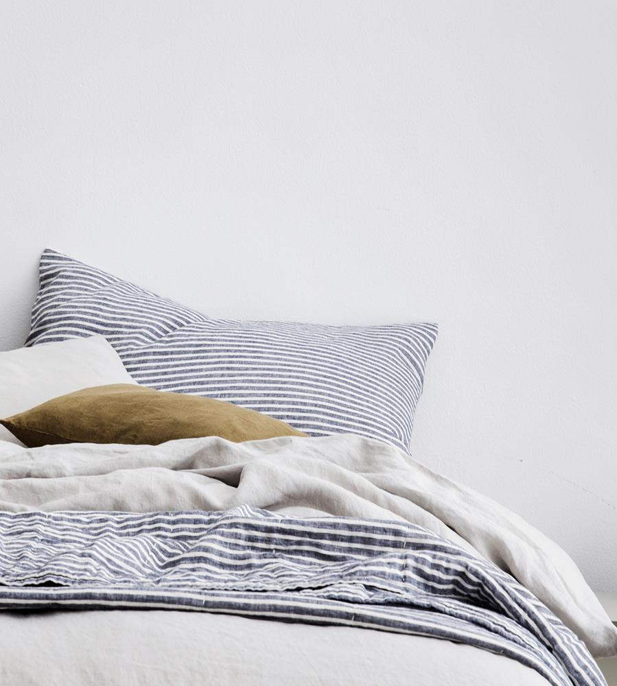 Cultiver | Linen European Pillowcase Pair | Indigo Stripe