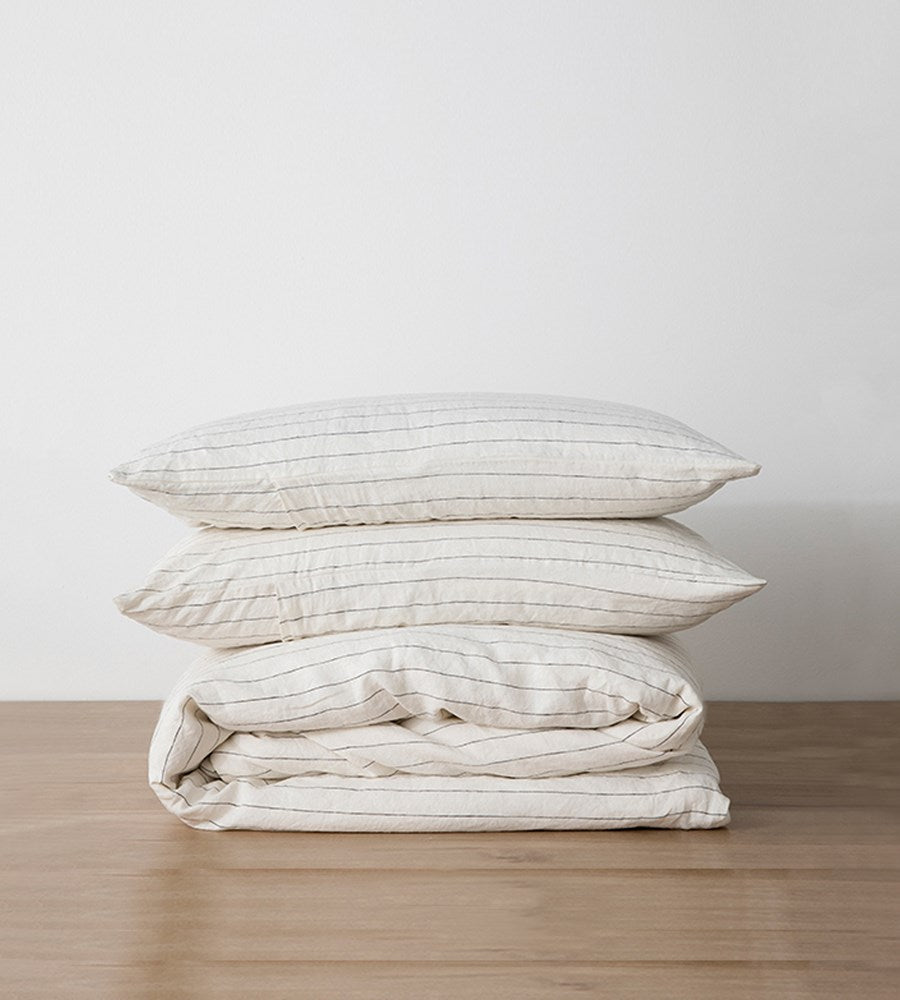 Cultiver | Linen Duvet Cover Set | Pencil Stripe
