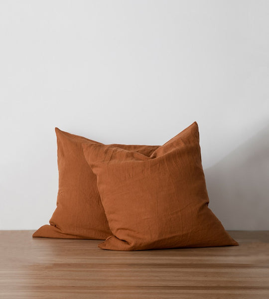 Cultiver Linen European Pillowcase Pair Cedar
