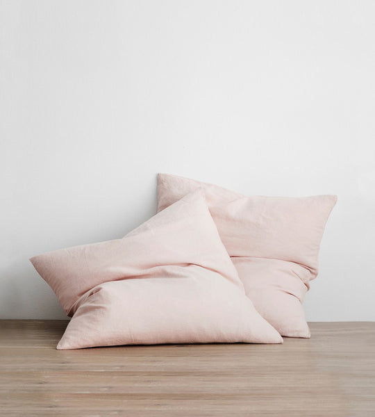 Cultiver | Linen European Pillowcase Pair | Blush
