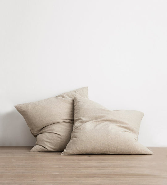 Cultiver | Linen European Pillowcase Pair | Natural