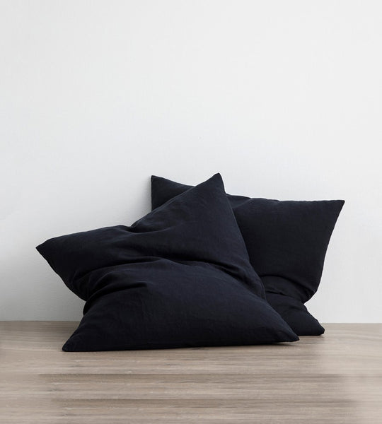 Cultiver | Linen European Pillowcase Pair | Navy