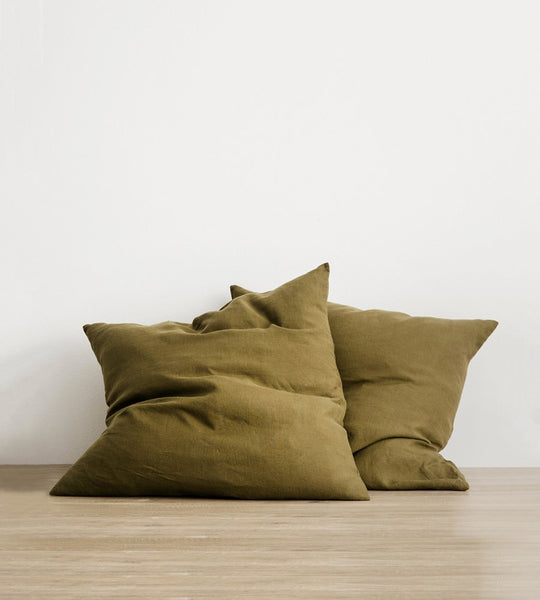 Cultiver | Linen European Pillowcase Pair | Olive