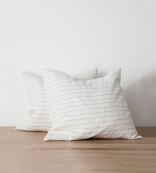 Cultiver | Linen European Pillowcase Pair | Pencil Stripe