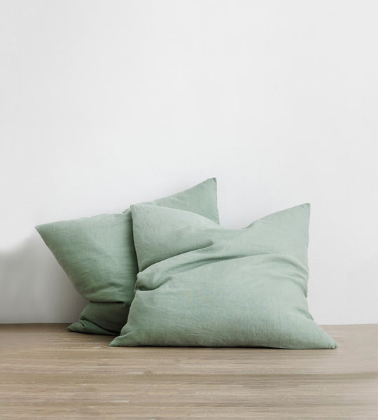 Cultiver | Linen European Pillowcase Pair | Sage