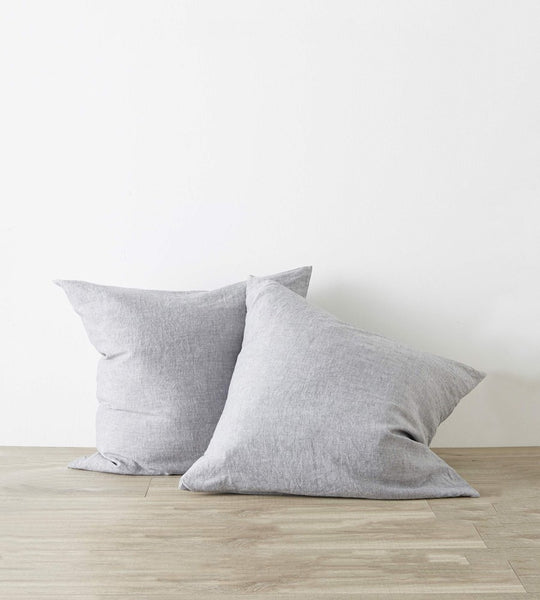 Cultiver Linen European Pillowcase Pair Ash