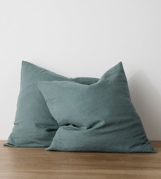 Cultiver | Linen European Pillowcase Pair | Bluestone