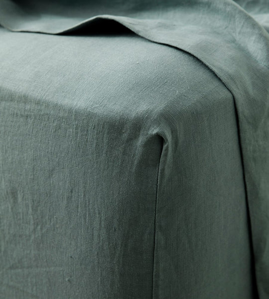 Cultiver | Linen Fitted Sheet | Bluestone