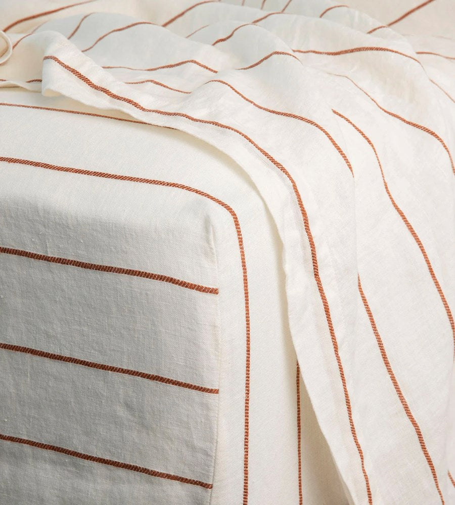Cultiver | Linen Fitted Sheet | Cedar Stripe