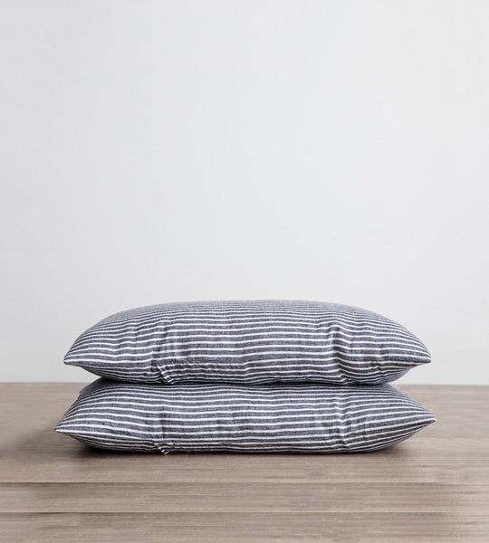 Cultiver | Linen Standard Pillowcase Pair | Indigo Stripe