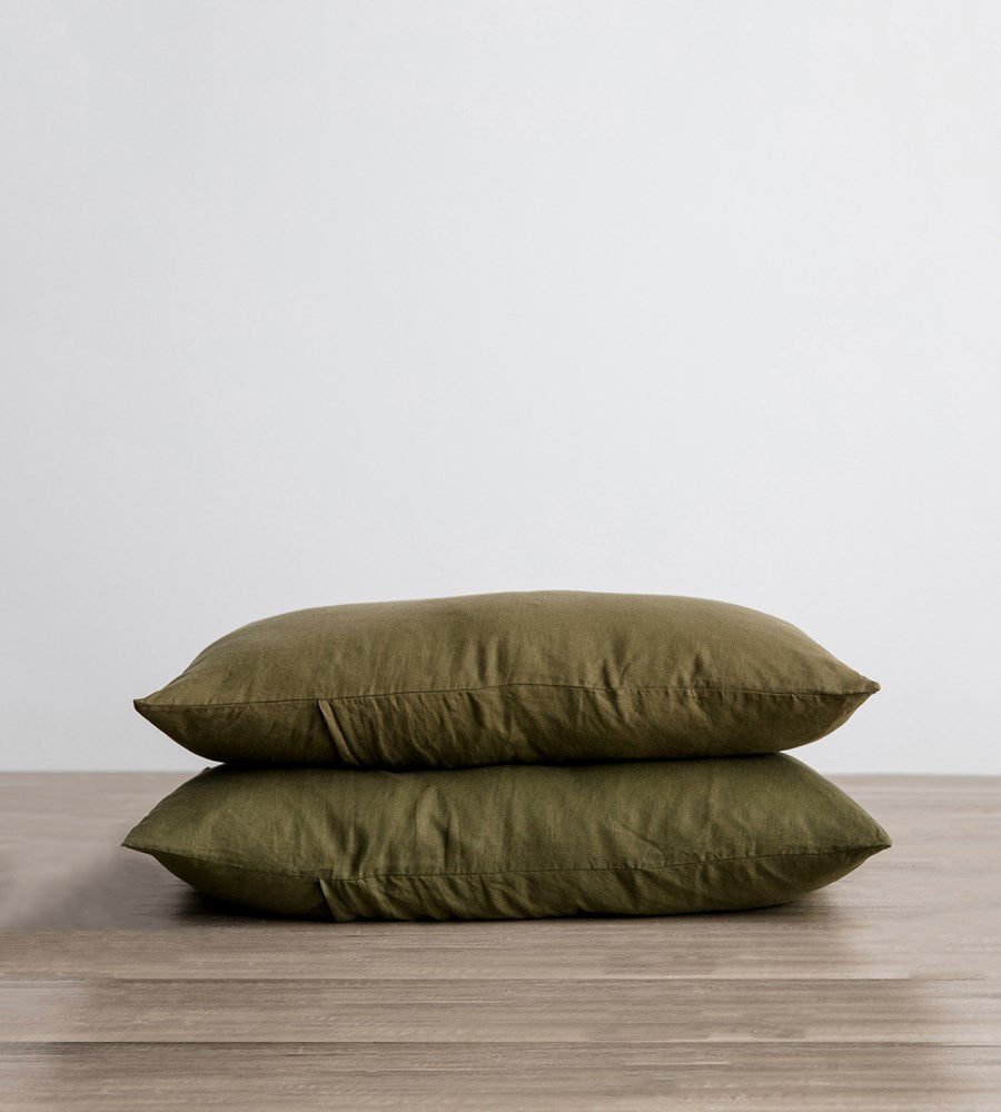 Cultiver | Linen Pillowcase Pair | Olive