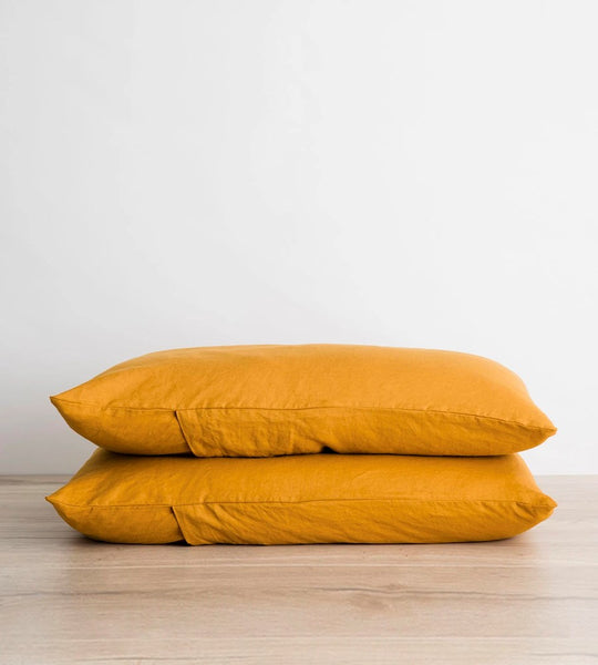 Cultiver | Linen Pillowcase Pair | Mustard