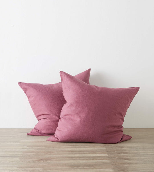 Cultiver Linen European Pillowcase Pair Plum