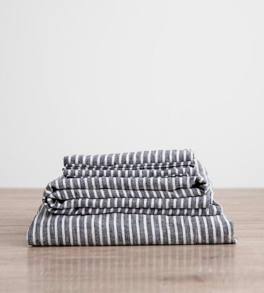 Cultiver | Linen Sheet Set | Indigo Stripe