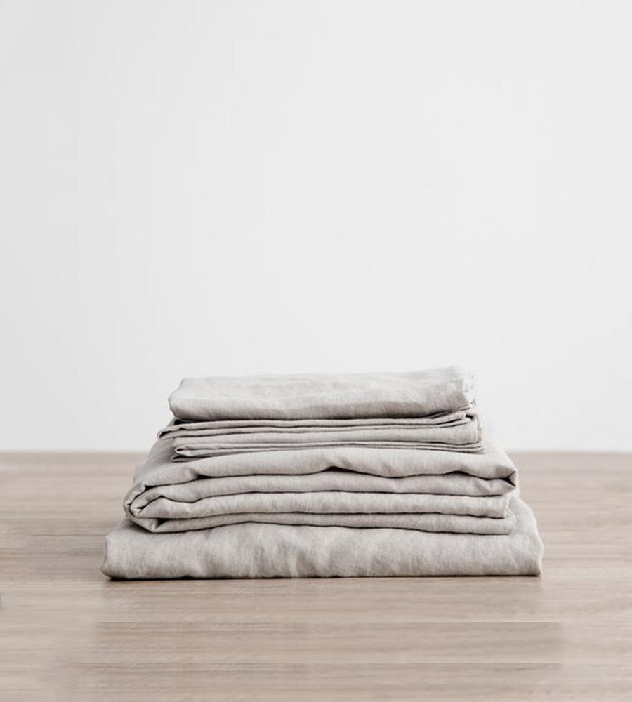 Cultiver Linen Sheet Set Smoke Grey