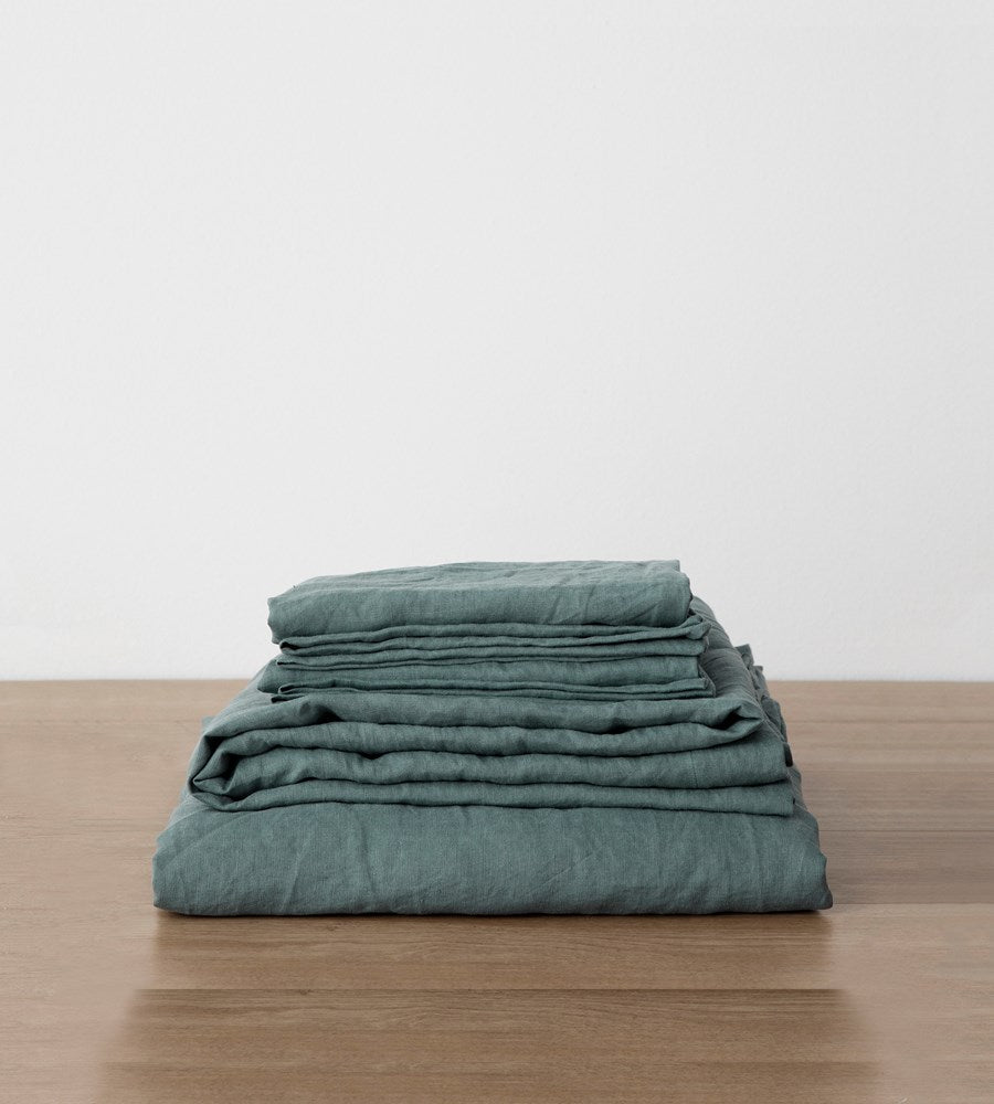 Cultiver | Linen Sheet Set | Bluestone