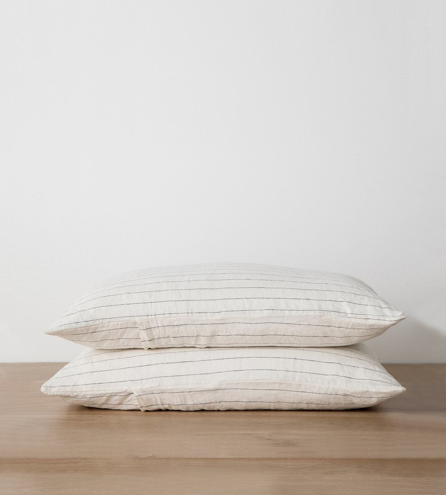 Cultiver | Linen Standard Pillowcase Pair | Pencil Stripe