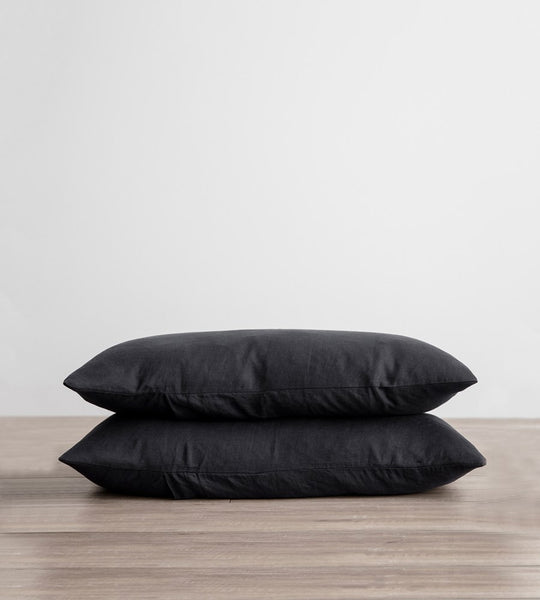 Cultiver | Linen Standard Pillowcase Pair | Black