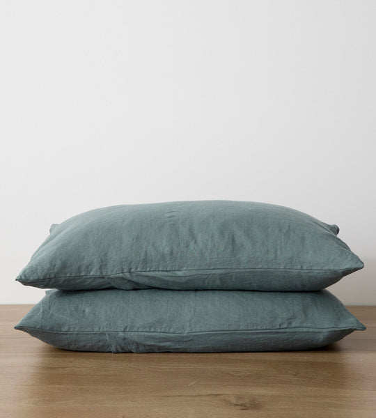 Cultiver | Linen Standard Pillowcase Pair | Bluestone