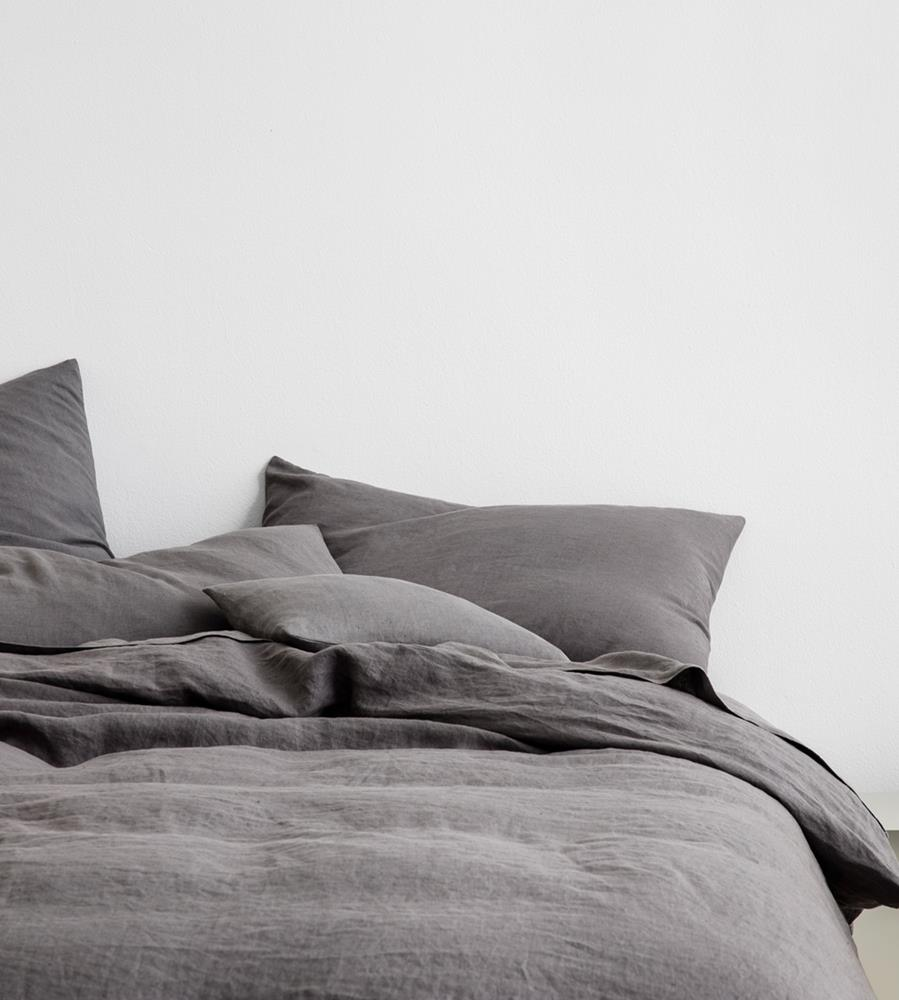 Cultiver | Linen European Pillowcase Pair | Charcoal Grey