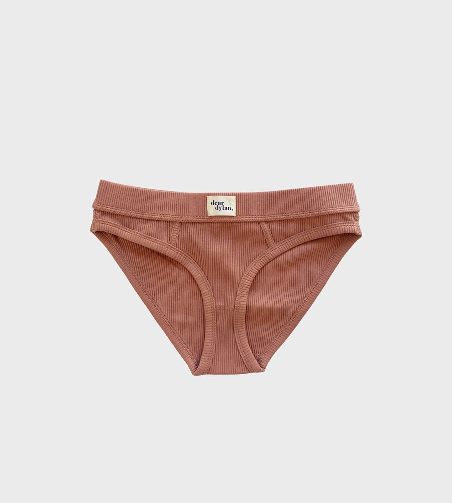 Dear Dylan | Ribbed Bikini Brief | Cameo Brown