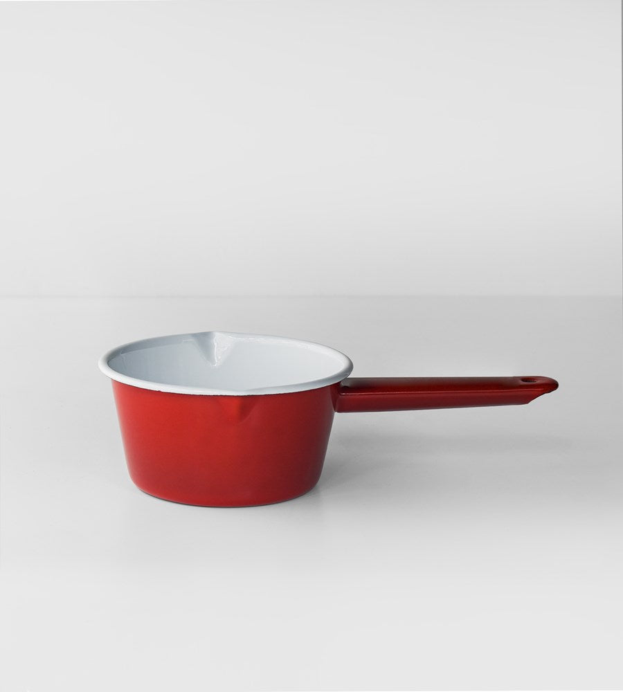 Deluxe Enamel Milk Pan | Red & White