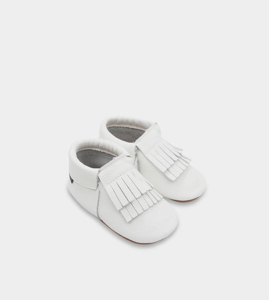 Ltl Big | Double Fringe Baby Moccasins | Milk