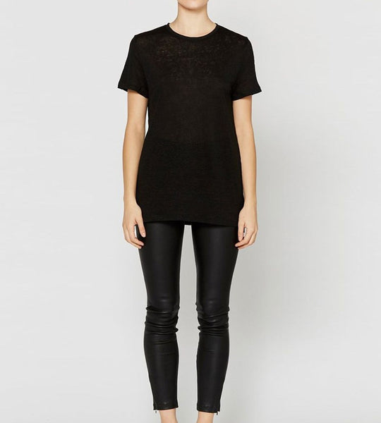 Elka Collective Linen Crew Neck Tee Black