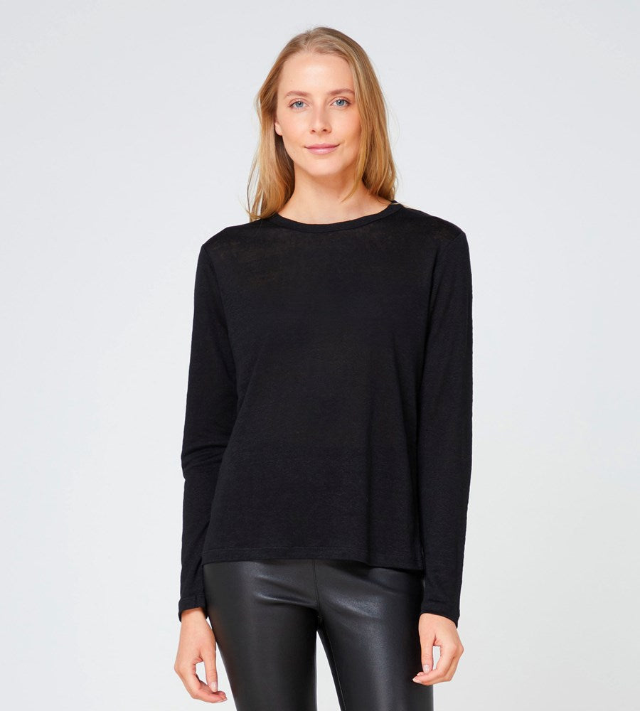 Elka Collective | EC Linen LS Tee 2.0 | Black