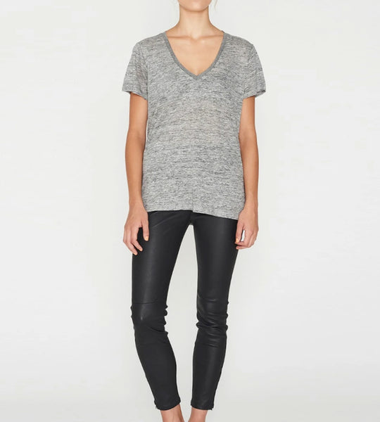 Elka Collective EC Linen V Neck Tee Grey Marle