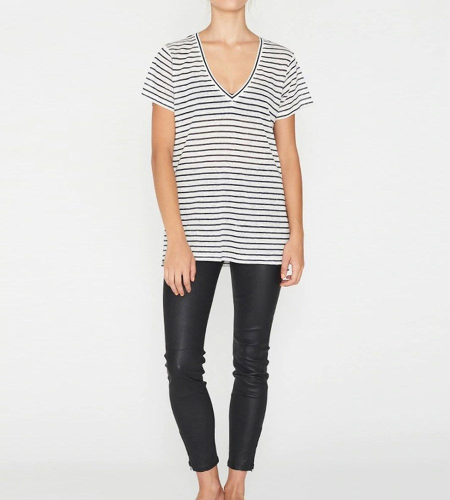 Elka Collective EC Linen V Neck Tee Navy Stripe