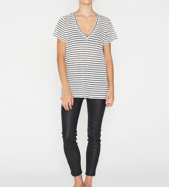 Elka Collective | EC Linen V Neck Tee | Navy Stripe