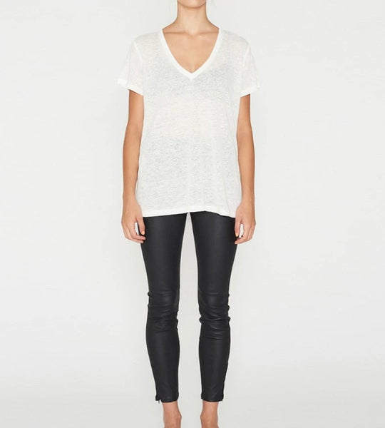 Elka Collective EC Linen V Neck Tee White