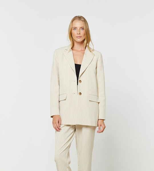 Elka Collective | Everly Blazer | Parchment Pinstripe