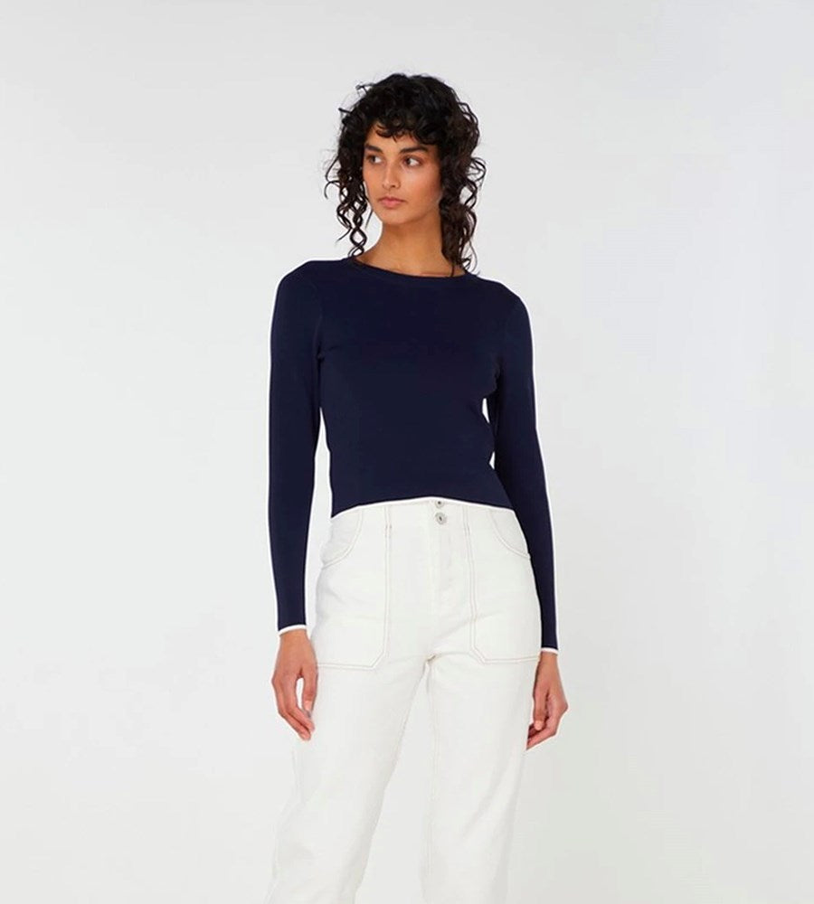 Elka Collective | Imani Knit Top | Navy / White